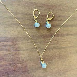 ♻️🌿14k Gold Freshwater Pearl Necklace + Earrings